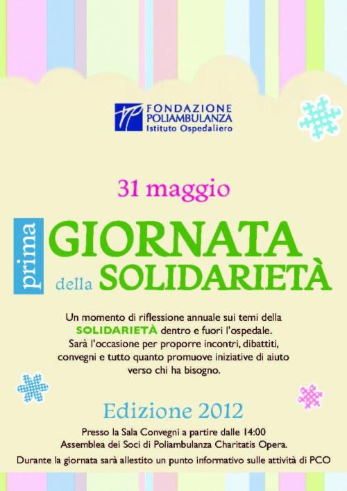 31 maggio: prima edizione della Giornata della Solidarietà