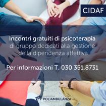 CIDAF: incontri di psicoterapia di gruppo gratuiti dedicati alla gestione della dipendenza affettiva